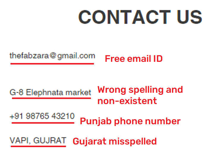 fabzara scam fake contact details