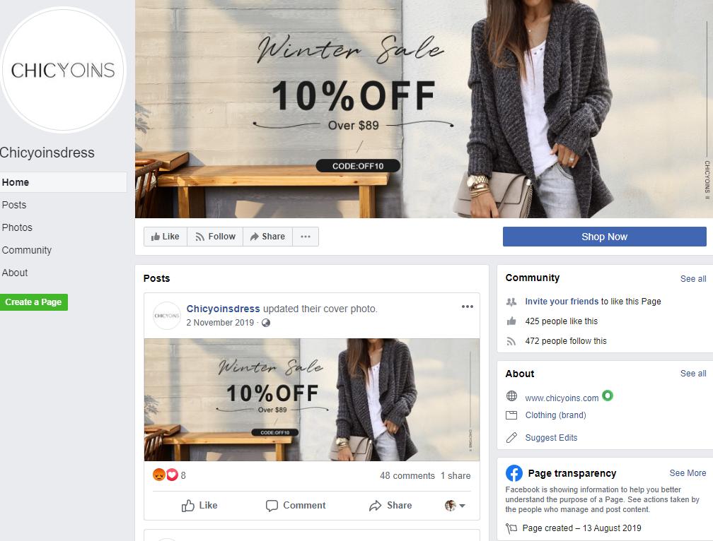 chicyoins scam facebook page