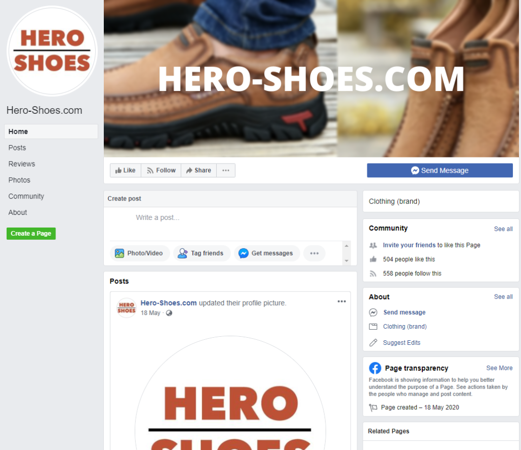 Hero-Shoes.com facebook 1
