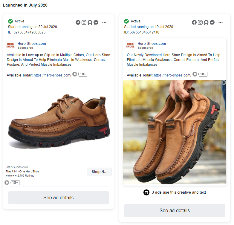Hero-Shoes.com facebook ads