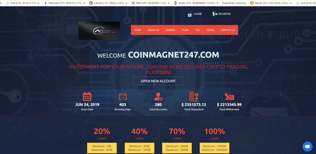 CoinMagnet247 scam home page