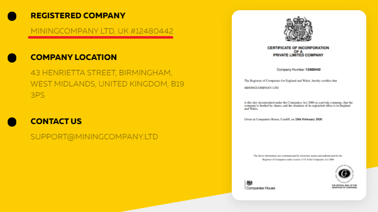 miningcompany scam registration number