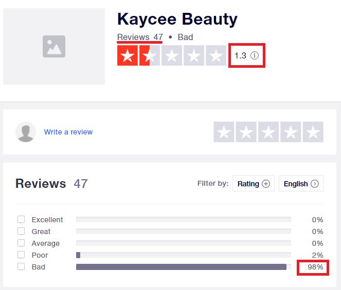 kayceebeauty review trustpilot 1