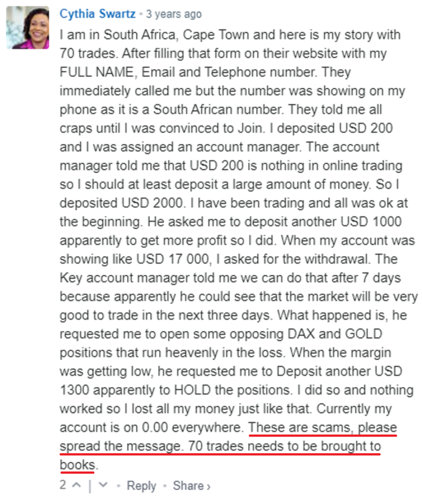 70trades scam review 9