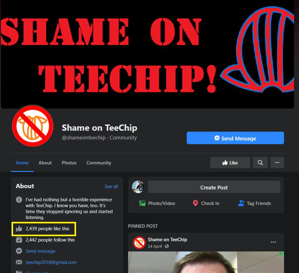 shame on teechip facebook group