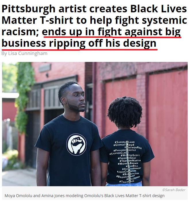 black lives matter art stolen by teechip