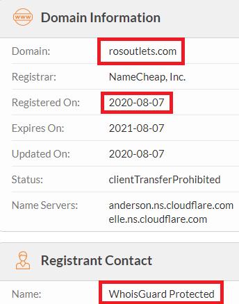 rosoutlets scam whois