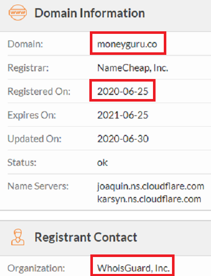 moneyguru scam whois