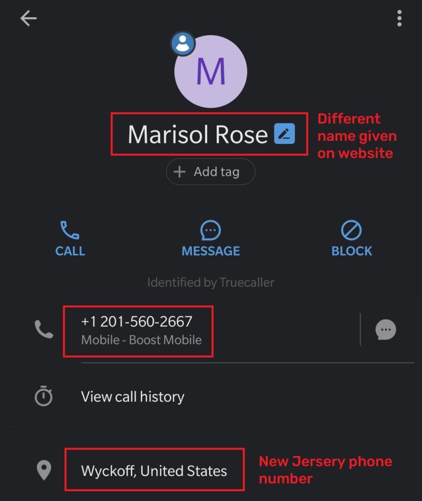 wrackib scam fake phone number