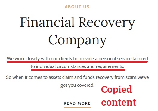 financial recovery scam about us
