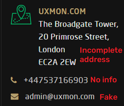 uxmon scam fake contact details