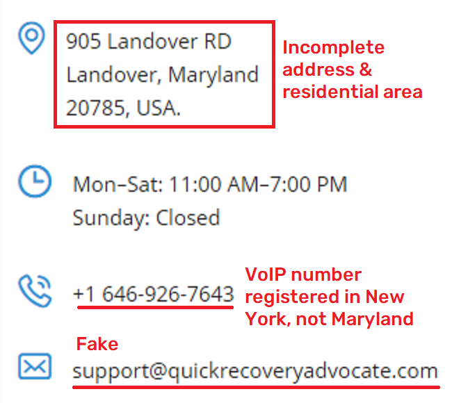 QuickRecoveryAdvocate & FinanceAssetRecovery fake contact details 1