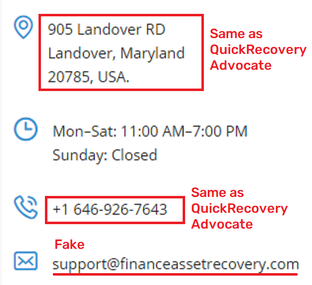 QuickRecoveryAdvocate & FinanceAssetRecovery fake contact details 2