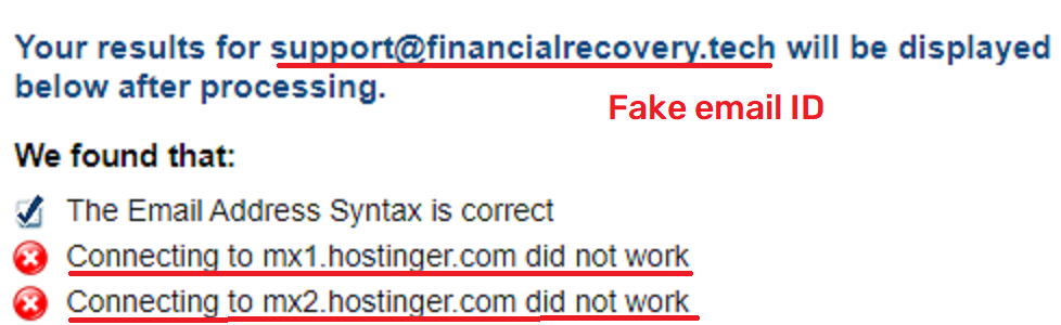 financial recovery scam fake email id