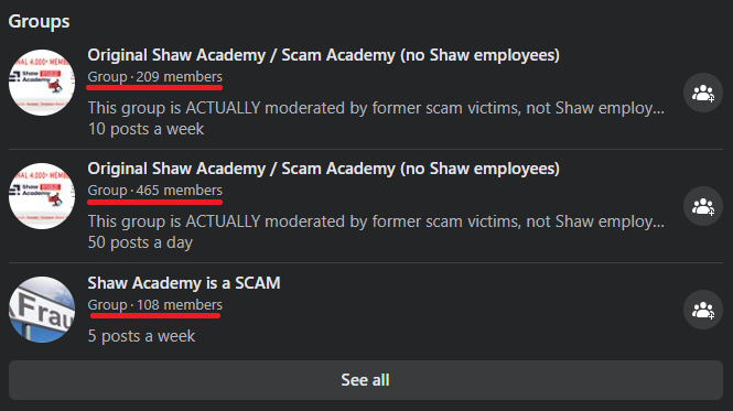 shaw academy scam facebook groups