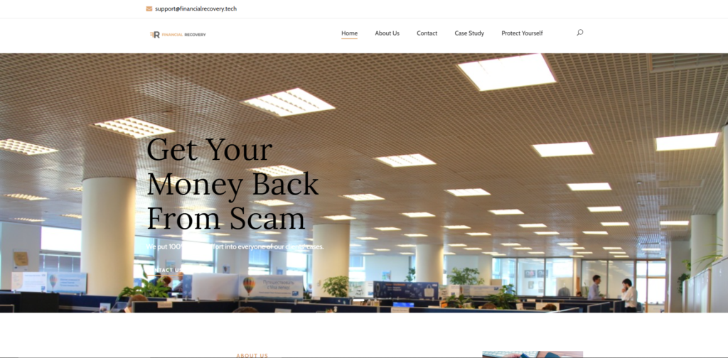 financial recovery financialrecovery.tech scam home page