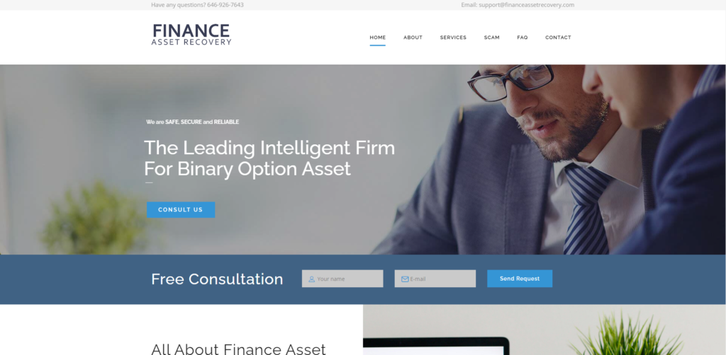 financeAssetRecovery scam home page