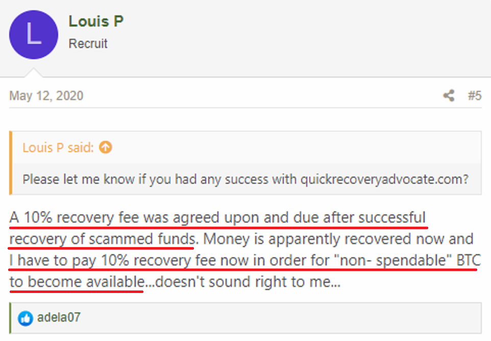 QuickRecoveryAdvocate & FinanceAssetRecovery scam review 1