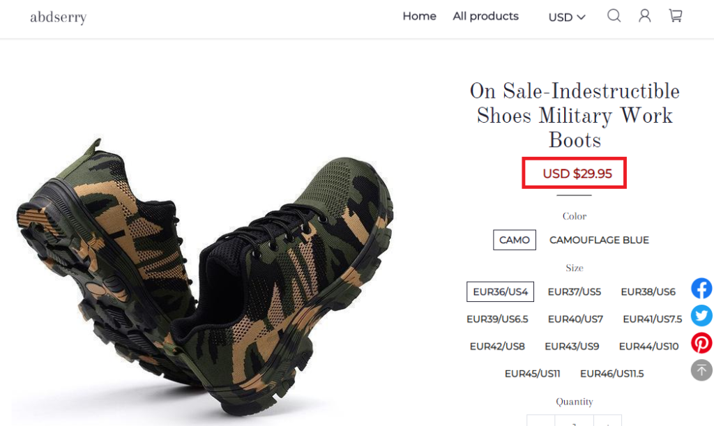 abdserry scam tactical shoes