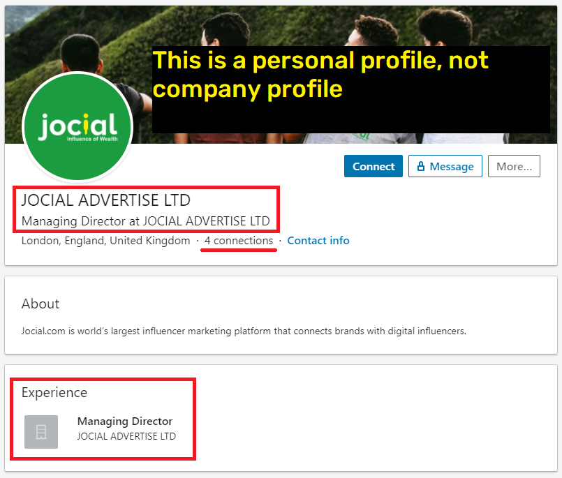 jocial scam linkedin