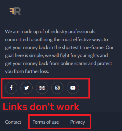 financial recovery scam fake social media links