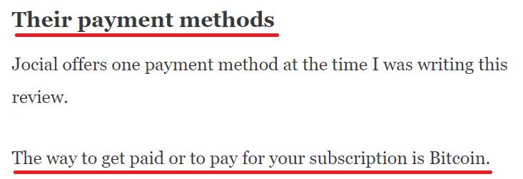 jocial scam bitcoin only