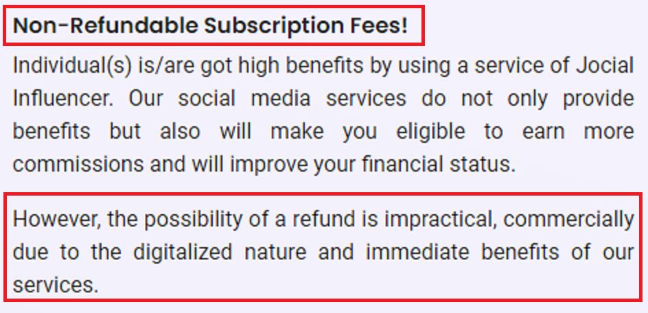 jocial scam subscription non refundable
