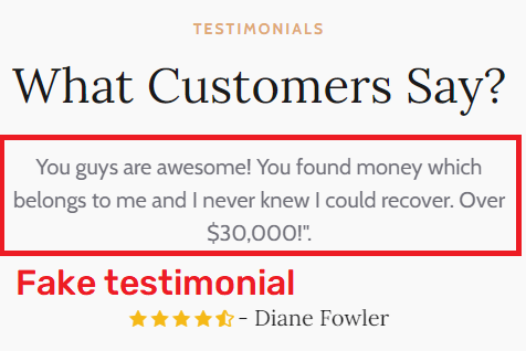financial recovery scam fake testimonial 1