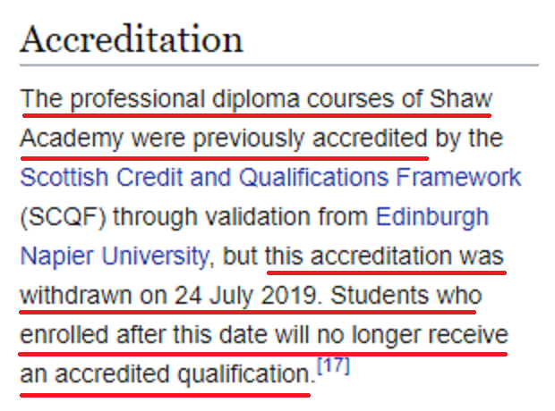 shaw academy certification not accredited