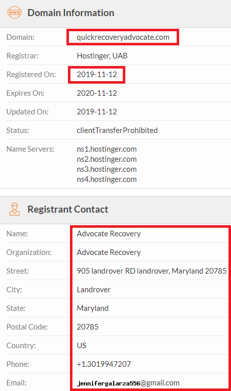 QuickRecoveryAdvocate scam whois