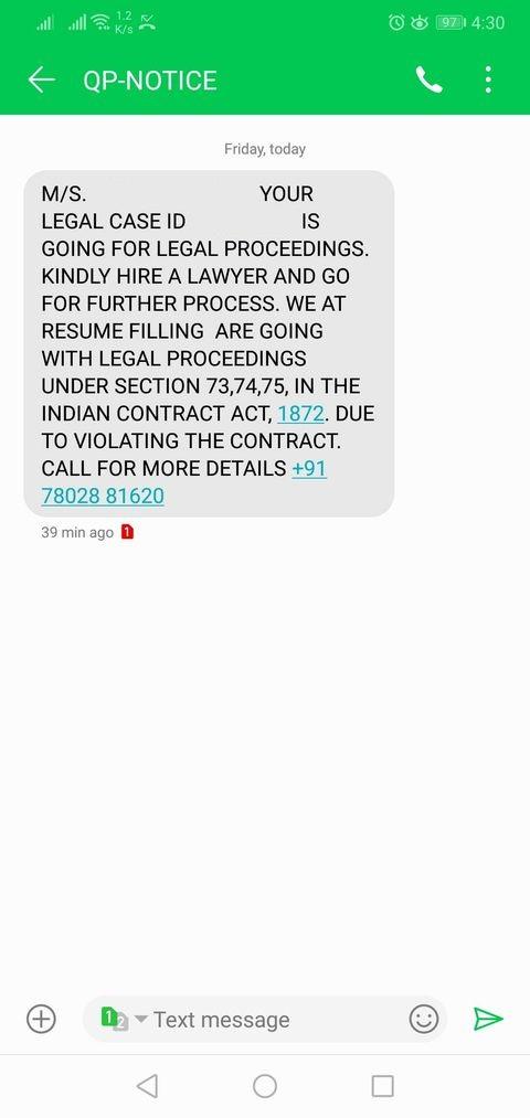 resumefilling scam sms threat