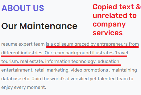 resumefilling scam about us copied text
