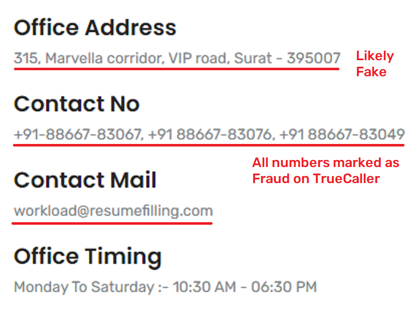 resumefilling fraud contact details