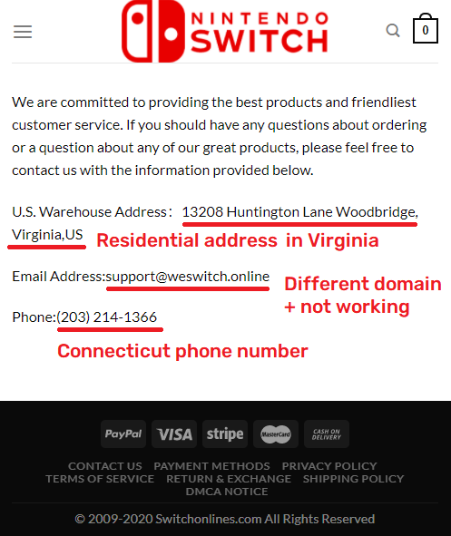 switchonlines scam fake contact details