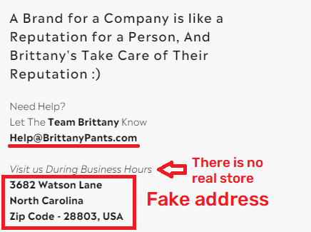 brittany pants scam fake contact details