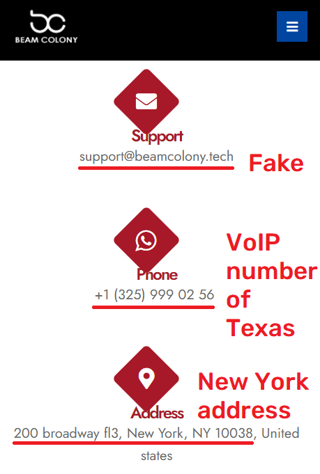 beamcolony scam fake contact details