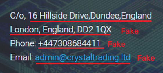 crystal trading scam fake contact details