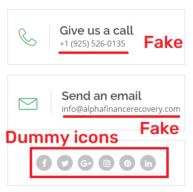 alpha recovery scam fake contact details