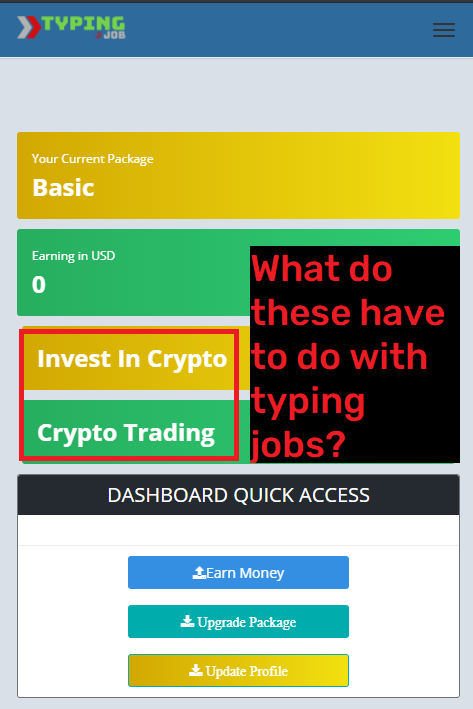 easy typing job scam dashboard