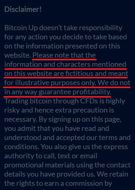 bitcoin up scam disclaimer