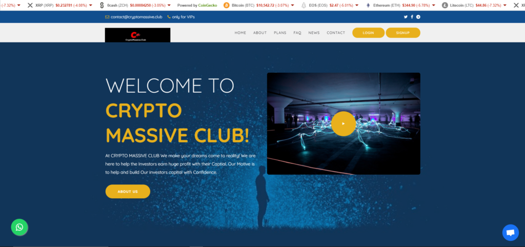 cryptomassive club scam home page
