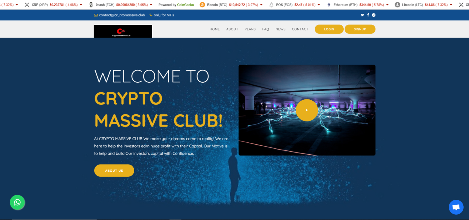 cryptomassive club scam home page