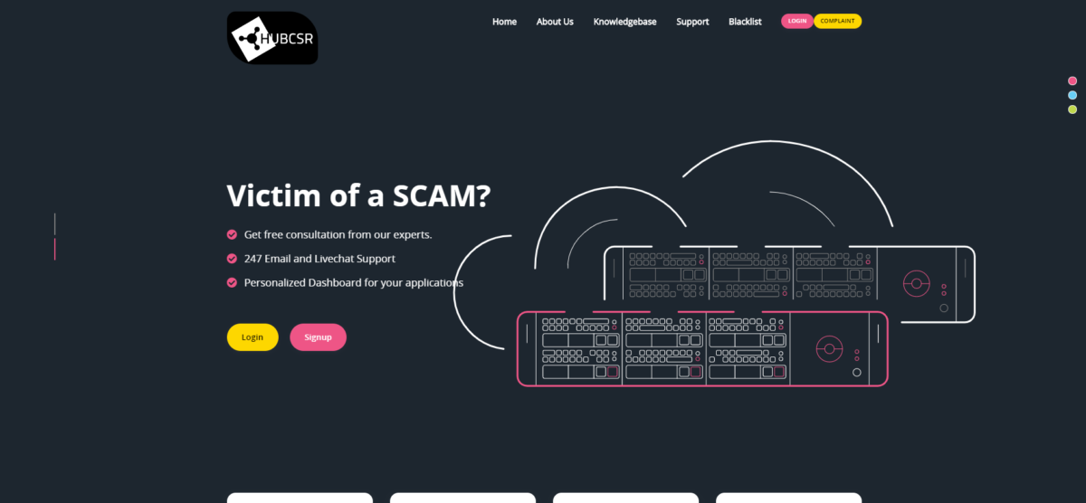 hubcsr scam home page