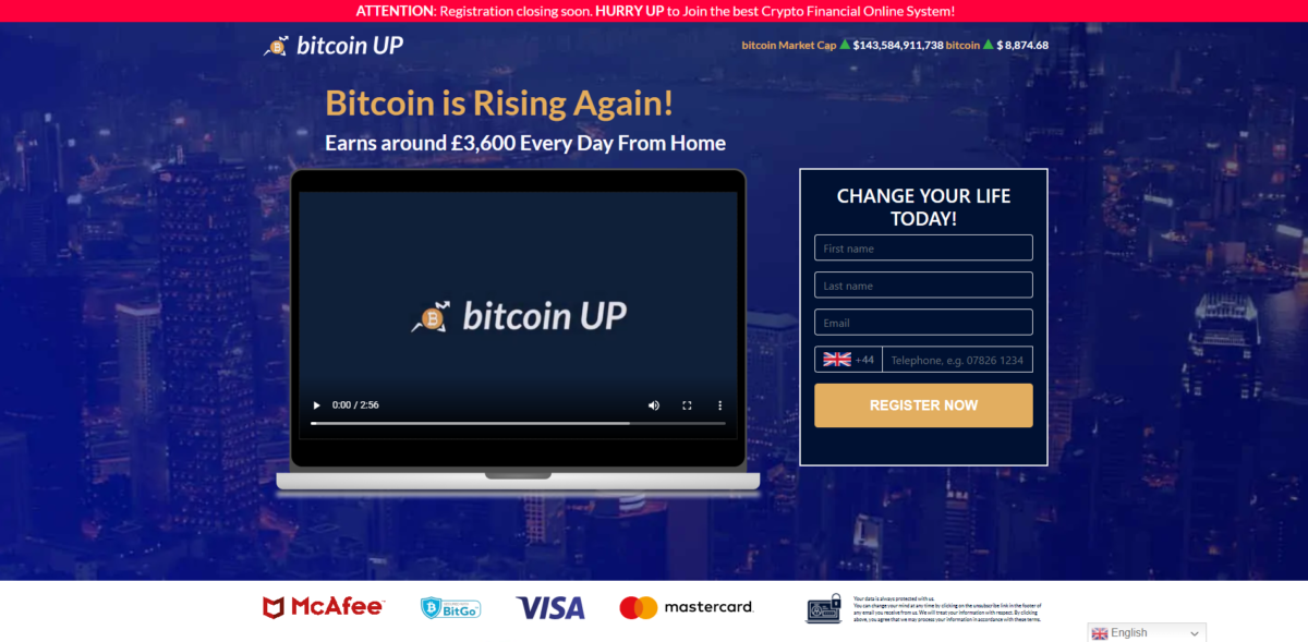 bitcoin up scam home page