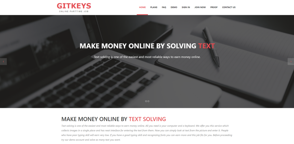 gitkeys scam home page