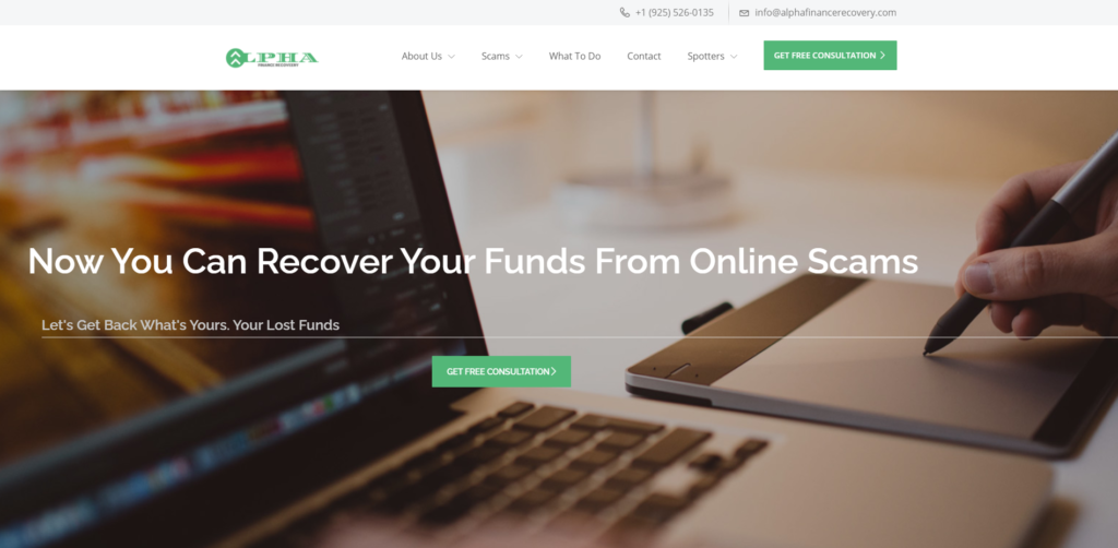 alpha finance recovery scam home page