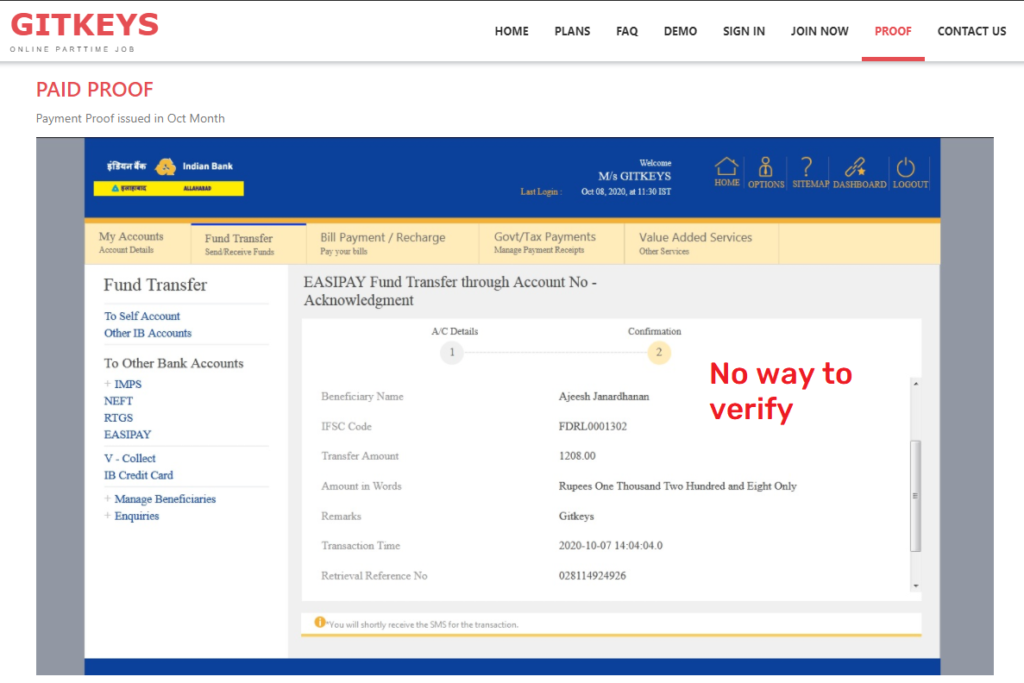 gitkeys scam fake payment proof