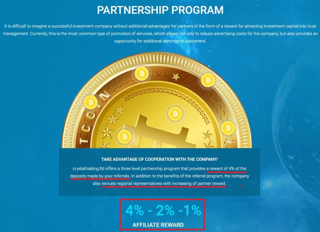 crystal trading scam pyramid scheme referral program