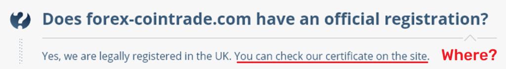 forex-cointrade scam fake uk registration 2