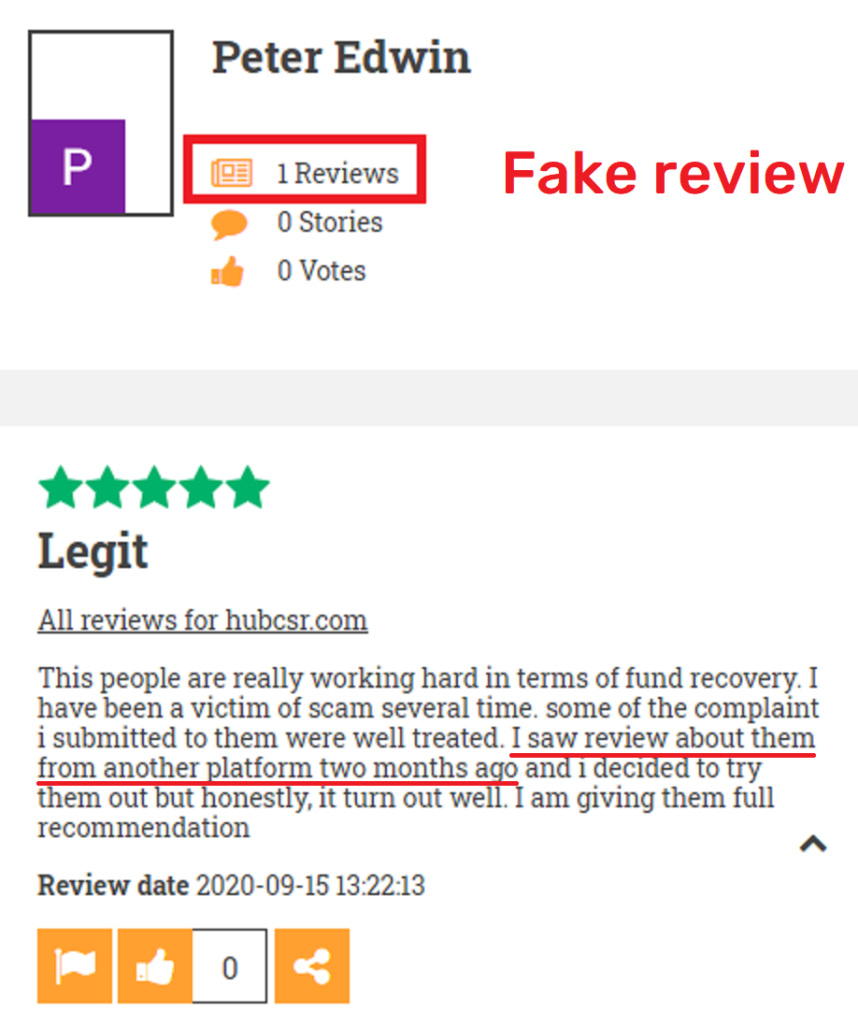hubcsr scam fake review scamadviser